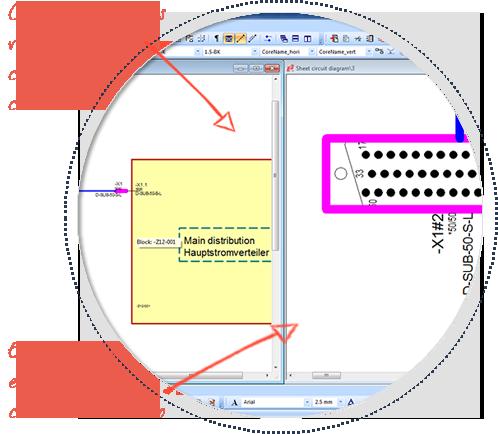 Software de diseño eléctrico de cables y arneses eléctricos, E3-Cable, multi-vista-funcionalidad
