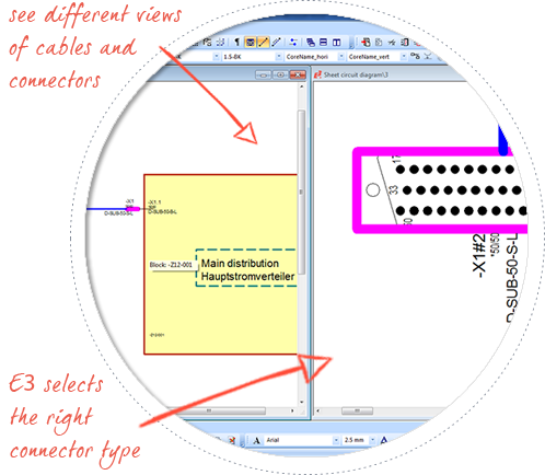 electrical-harness-design-software--E3-Cable-multi-view-functionality